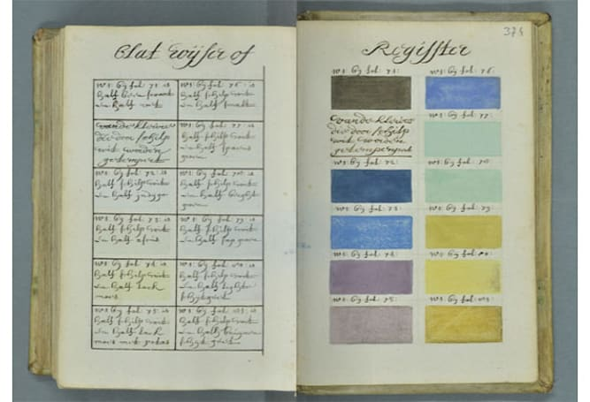 This swatch book from 1692 puts modern Pantone guides to shame