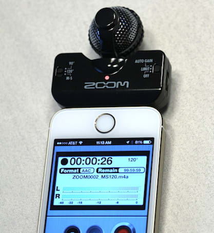 Zoom iQ5: A tiny professional stereo microphone for Lightning connector devices