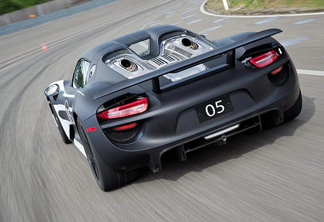 Porsche 918 Spyder prototype returns to the road with polished black and white shell