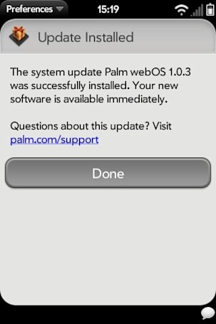 Palm webOS 1.0.3 update now available