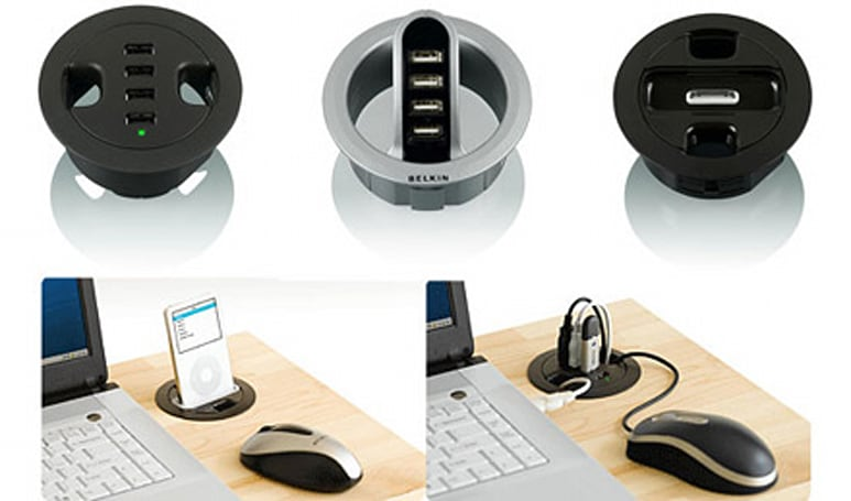 Belkin's USB / iPod hubs neatly plug excess desk holes