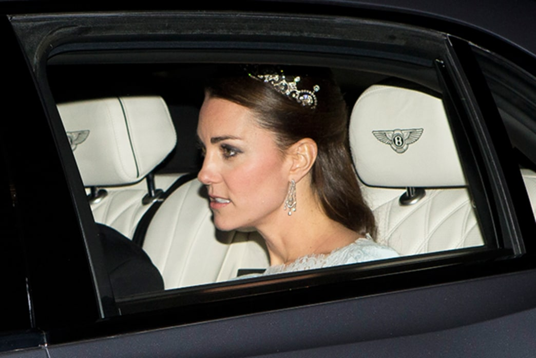 Kate Middleton dons a diamond tiara for the first time since Royal Wedding