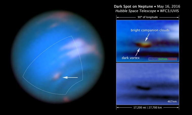 Hubble discovers a new 'dark vortex' on Neptune