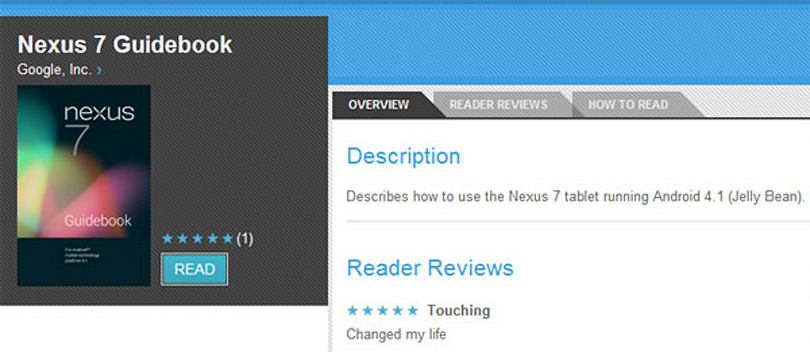 Nexus 7 guidebook appears on Google Play, teaches you how to blink, manage Google Now cards