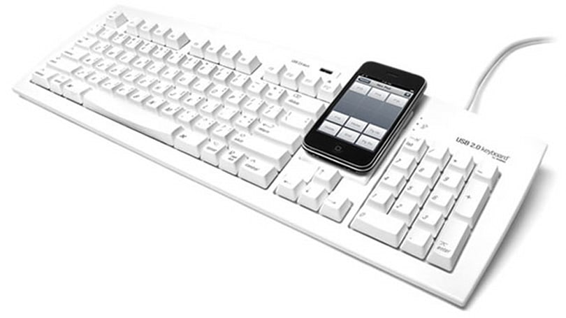 Matias makes room for your smartphone on an otherwise vanilla keyboard