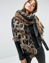 Oversized Long Woven Scarf In Natural