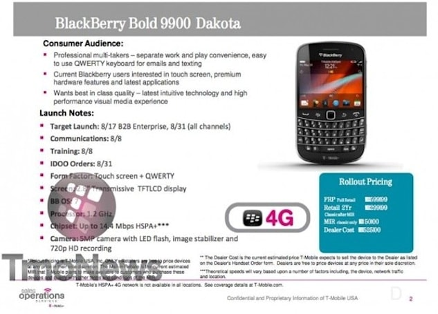 BlackBerry Bold 9900 appears in leaked T-Mo docs, reveals August 29th release date and $300 price
