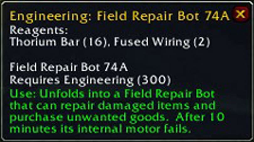 PTR Notes: Repair bot and toolbox changed