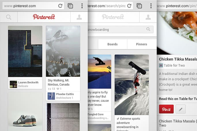 Pinterest's mobile site now matches the look of its apps