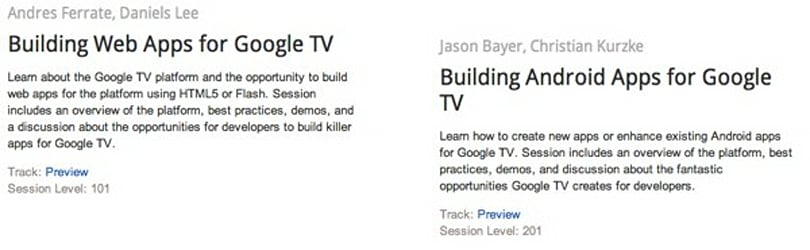 Google I/O includes Google TV app development session; software speedup in the works