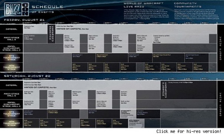 New BlizzCon 2009 schedule available