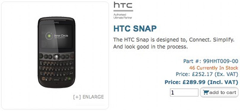 HTC Snap goes on sale in the UK