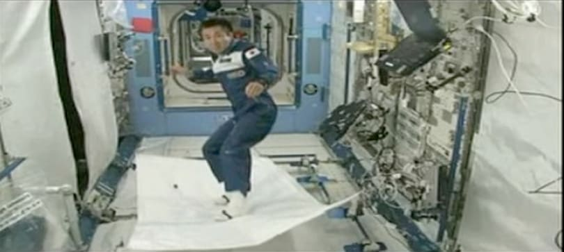 Video: Japanese astronaut surfs through space on 'flying carpet'