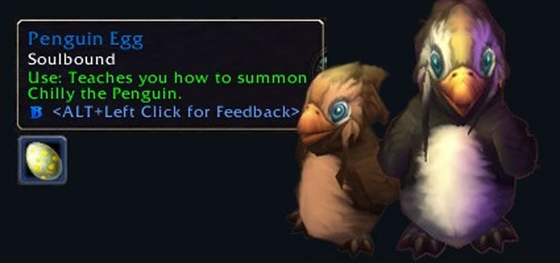 Penguin noncombat pets appear in the beta