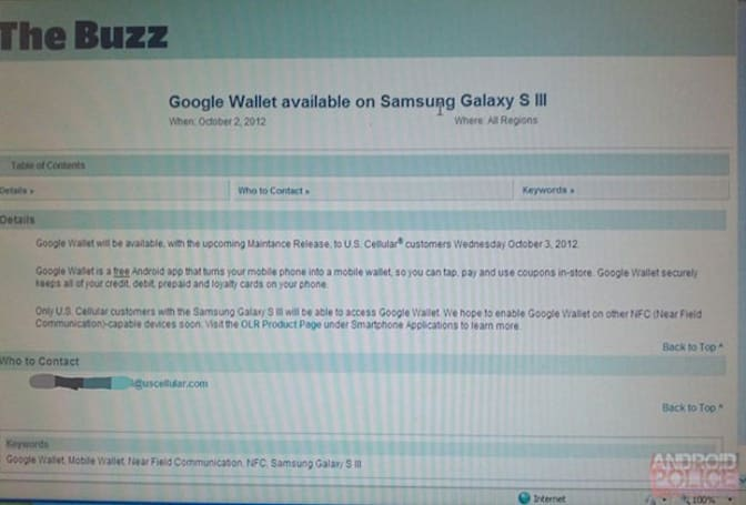 US Cellular Galaxy S III update adds Google Wallet support