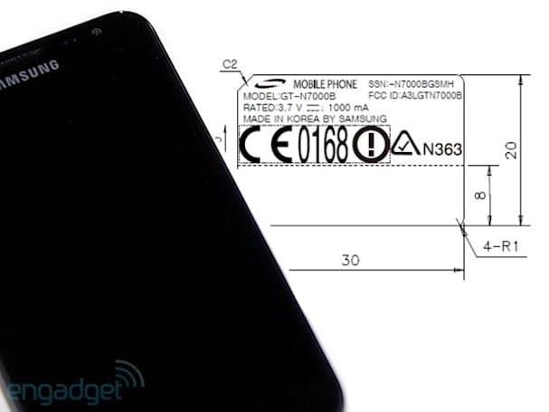 Galaxy Note for AT&T hits FCC for cups of tea