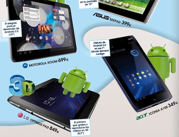 Motorola Xoom, LG Optimus Pad, Acer Iconia A100, and ASUS Eee Pad get Euro retailer pricing