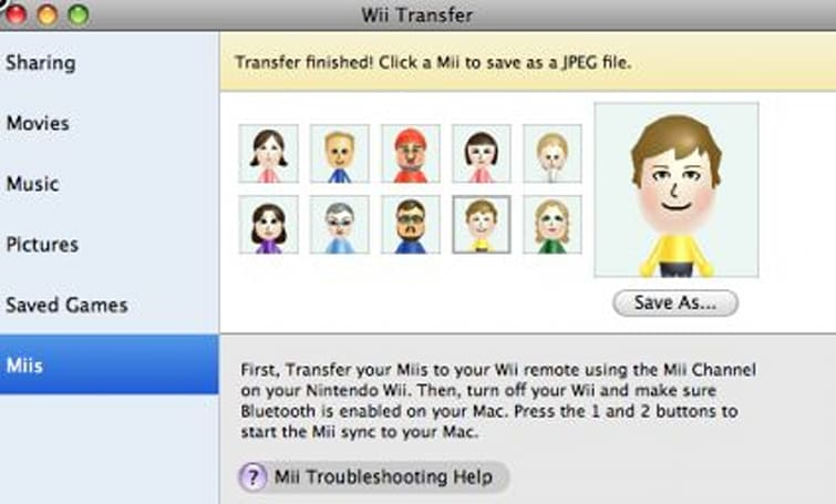 Wii Transfer updated for Mii capture