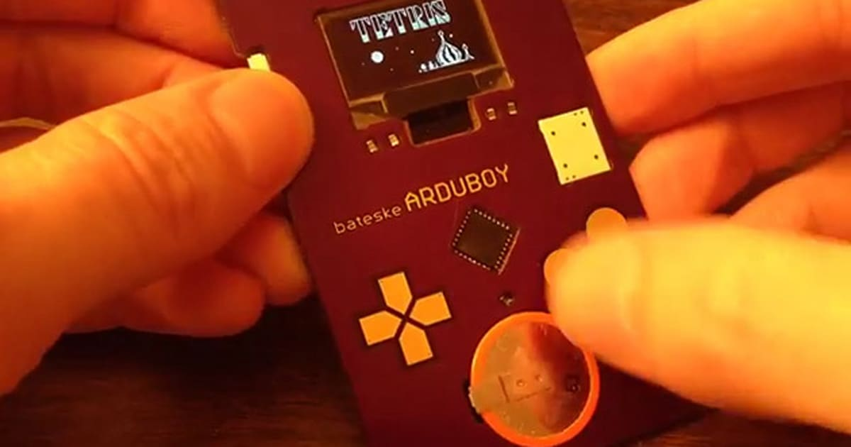 This arduino powered business card looks like a game boy for Tetris business cards