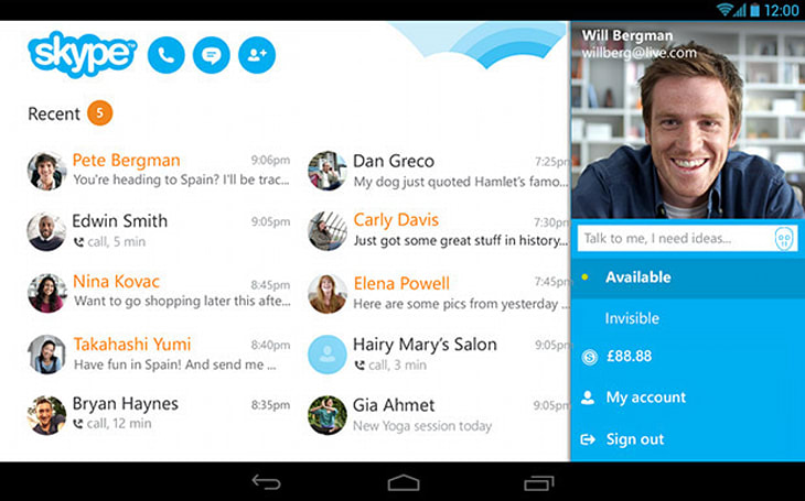 Skype brings picture in picture video calls to Android tablets