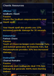 warlock level 100 talent Chaotic Resources tooltip