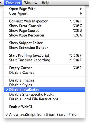 Safari Menu for Disable JavaScript, Checked