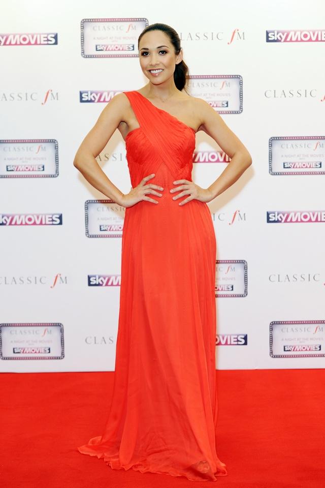 myleene-klass-red-dress-classic-fm-night-at-the-movies
