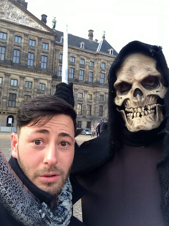 James O?Kane photographs himself during his surprise trip to Amsterdam. See SWNS story SWDRUNK; Boozy James O?Kane got plastered after a funeral and woke up 220 miles away in AMSTERDAM - where he was stranded for THREE DAYS. James O'Kane, 22, attended an old pal's burial and last remembers drowning his sorrows with a group of mates in local pubs. At 4am he drunkenly decided at take a taxi to nearby Gatwick Airport - where he managed to buy a ticket to Amsterdam on a British Airways flight. The next thing he remembers is waking up on a plane that had just landed at Amsterdam Airport Schiphol.