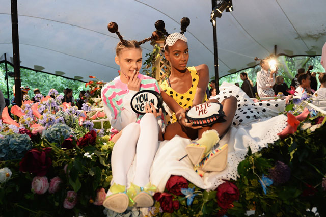 LONDON, UNITED KINGDOM - SEPTEMBER 15:  Models pose at the Sophia Webster presentation during London Fashion Week SS14 at TopShop Show Space on September 15, 2013 in London, England.  (Photo by Samir Hussein/Getty Images)