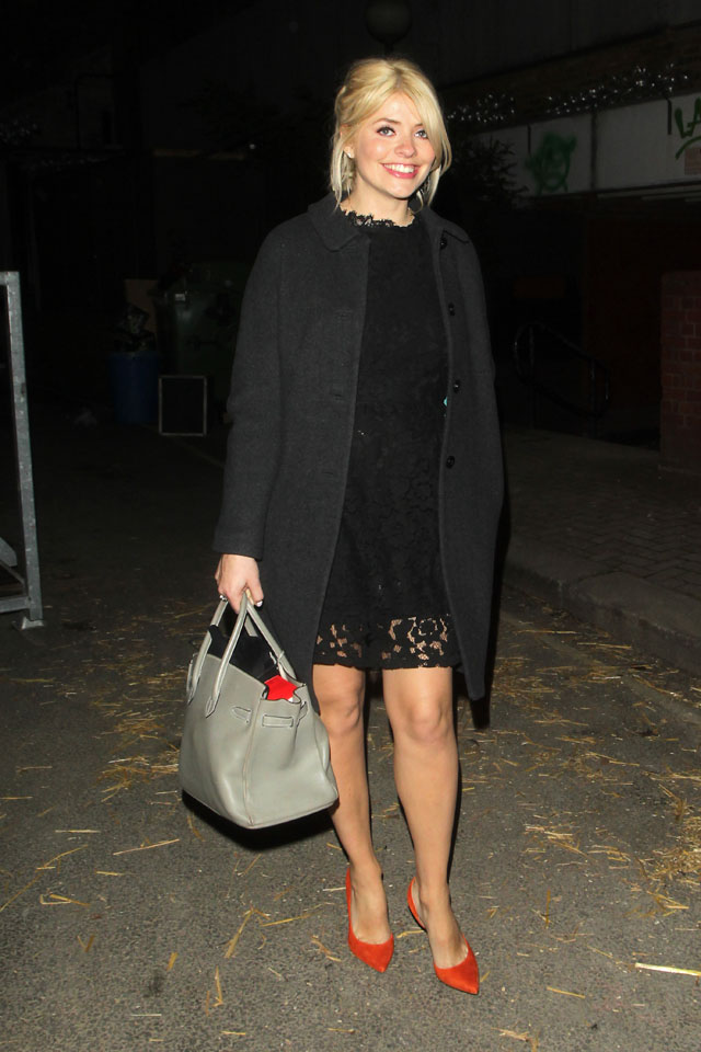 Holly Willoughby and Fearne Cotton seen here leaving Celebrity Juice. <P> Pictured: Holly Willoughby <B>Ref: SPL729717  010414  </B><BR/> Picture by: Weir Photos / Splash News<BR/> </P><P> <B>Splash News and Pictures</B><BR/> Los Angeles: 310-821-2666<BR/> New York: 212-619-2666<BR/> London: 870-934-2666<BR/> photodesk@splashnews.com<BR/> </P>