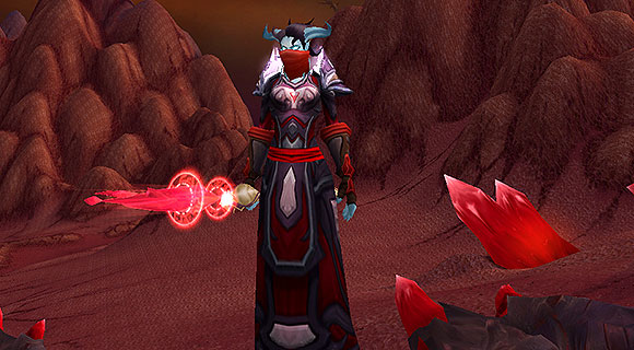 A draenei mage in Hellfire Peninsula with a bandana over her face