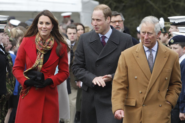 AYRSHIRE, UNITED KINGDOM - MARCH 05: Catherine, Countess of Strathearn, Prince William, Earl of Strathearn and Prince Charles, Duke of Rothesay during a visit to Dumfries House on March 05, 2013 in Ayrshire, Scotland. The Duke and Duchess of Cambridge braved the bitter cold to attend the opening of an outdoor centre in Scotland today. The couple joined the Prince of Wales at Dumfries House in Ayrshire where Charles has led a regeneration project since 2007. Hundreds of locals and 600 members of youth groups including the Girl Guides and Scouts turned out for the official opening of the Tamar Manoukin Outdoor Centre. (Photo by Danny Lawson - WPA Pool/Getty Images)