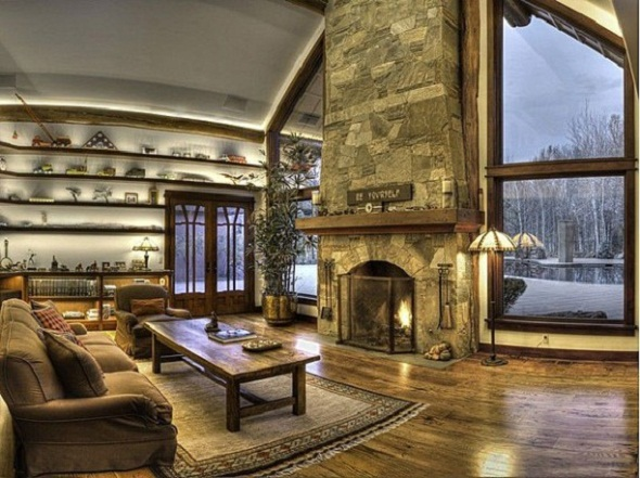 Bruce Willis living room sun valley house