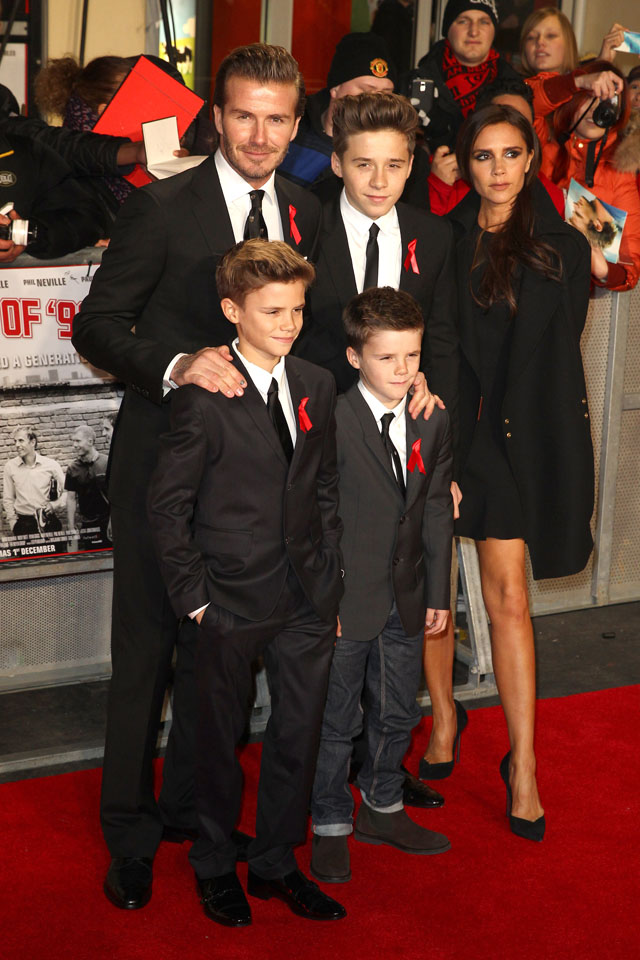 LONDON, UNITED KINGDOM - DECEMBER 01: David Beckham, Brooklyn Beckham, Victoria Beckham, Romeo Beckham and Cruz Beckham attend the premiere of 'The Class Of 92'  at Odeon West End on December 1, 2013 in London, England. (Photo by Fred Duval/FilmMagic)