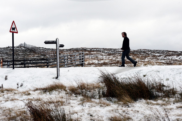 The Pennine hilltops near the A66 following further snow showers across parts of the UK.