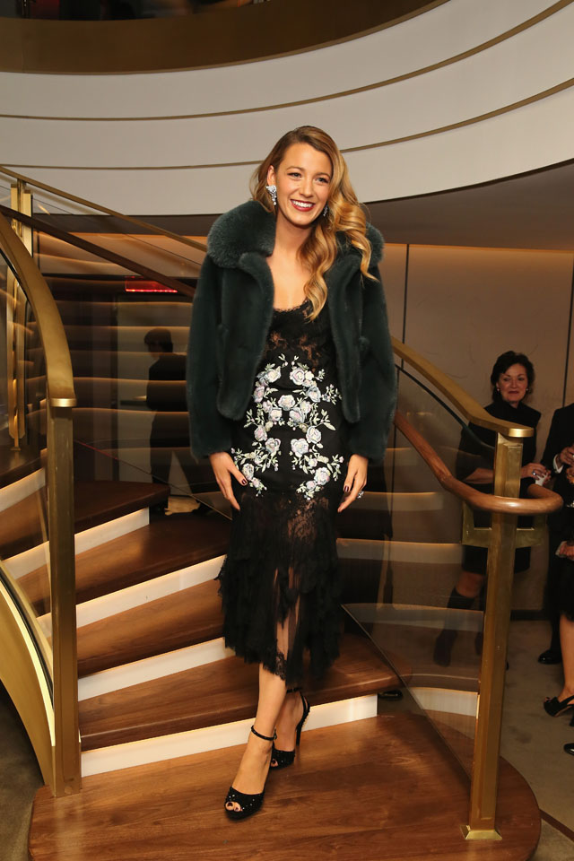 NEW YORK, NY - DECEMBER 10:  Actress Blake Lively attends the unveiling  of Van Cleef & Arpels  redesigned New York 5th Avenue Flagship Maison at Van Cleef & Arpels on December 10, 2013 in New York City.  (Photo by Neilson Barnard/Getty Images for Van Cleef & Arpels)