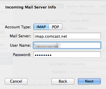 How to set up Comcast IMAP email on iOS 7, OS X Mavericks