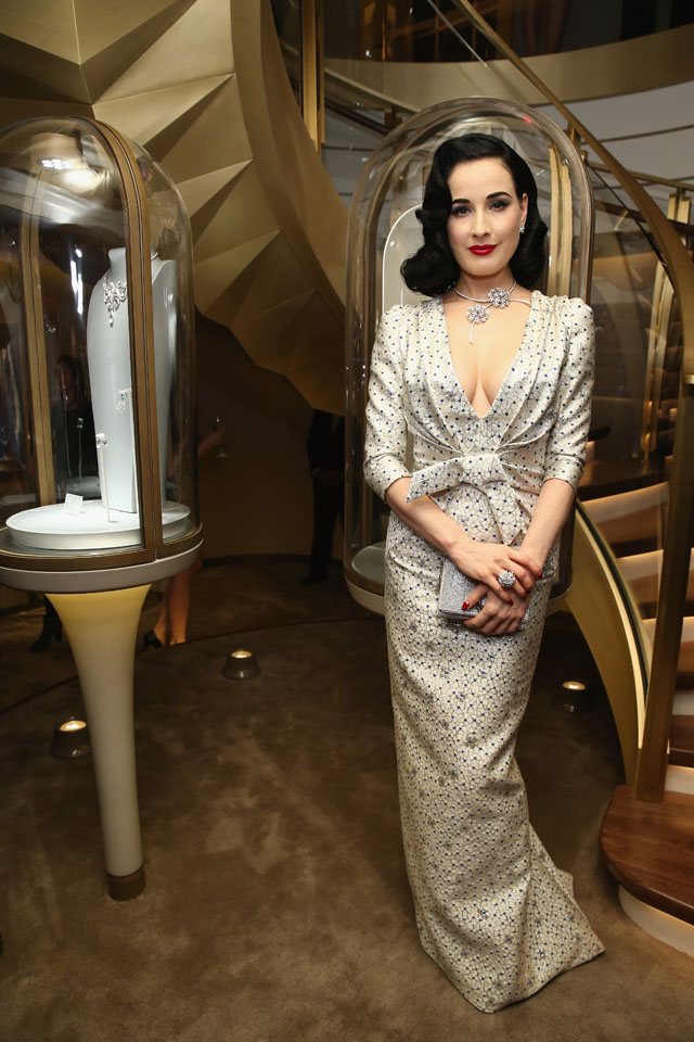 NEW YORK, NY - DECEMBER 10:  Model Dita Von Teese attends the unveiling of Van Cleef & Arpels redesigned New York 5th Avenue Flagship Maison at Van Cleef & Arpels on December 10, 2013 in New York City.  (Photo by Neilson Barnard/Getty Images for Van Cleef & Arpels)