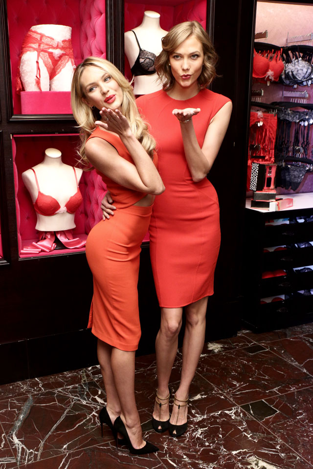 NEW YORK, NY - FEBRUARY 04:  Fashion models Candice Swanepoel (L) and Karlie Kloss attend Victoria's Secret