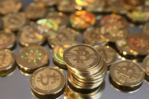 SALT LAKE CITY, UT - APRIL 26: A pile of Bitcoins are shown here after Software engineer Mike Caldwell minted them in his shop on April 26, 2013 in Sandy, Utah. Bitcoin is an experimental digital currency used over the Internet that is gaining in popularity worldwide. (Photo by George Frey/Getty Images)