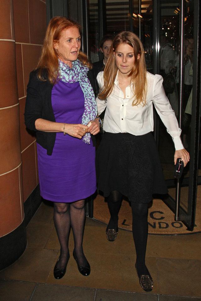 Mandatory Credit: Photo by REX (3685830a) Sarah Ferguson Duchess of York and Princess Beatrice Sarah Ferguson and Princess Beatrice leaving C restaurant, London, Britain - 02 Apr 2014