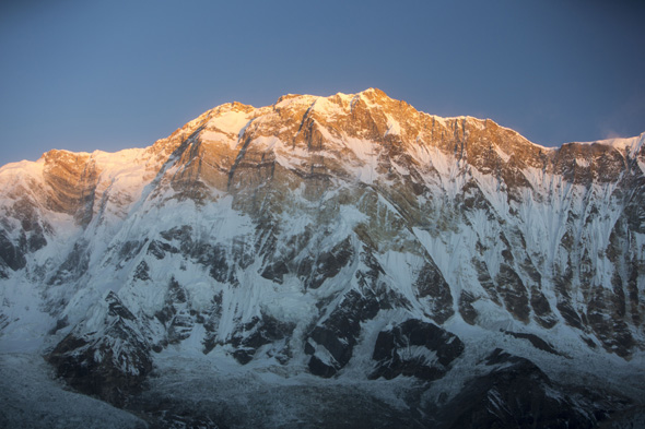 Mandatory Credit: Photo by Global Warming Images/REX (2359231a) Alpenglow at sunrise on Annapurna One, Nepelese Himalayas. VARIOUS