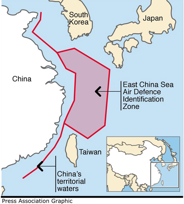 Graphic locates China?s newly declared maritime air defence zone. Editable versions of this graphic are available via PA Graphics or your account manager