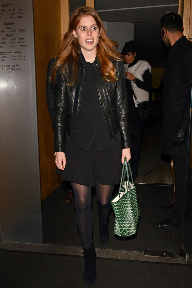 Mandatory Credit: Photo by Rotello/Photofab/REX (3582956c) Princess Beatrice Celebrities at Nobu Berkeley, London, Britain - 18 Feb 2014 Princess Beatrice pictured on a night out at the Nobu Berkeley restaurant with fiance Dave Clark. Also at the restaurant was Ronan Keating and family.