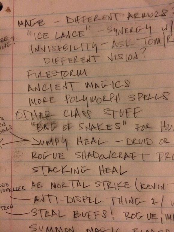 WoW Class Design notes