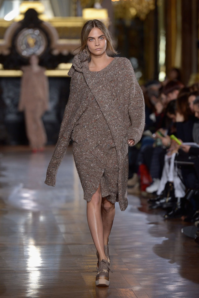 PARIS, FRANCE - MARCH 03:  Cara Delevigne walks the runway during the Stella McCartney show as part of the Paris Fashion Week Womenswear Fall/Winter 2014-2015 on March 3, 2014 in Paris, France.  (Photo by Dominique Charriau/WireImage)