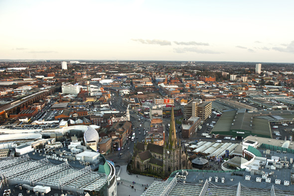 General view of the Bullring, St Martin's Church and Digbeth/Eastside in the background from top of The Rotunda in Birmingham.