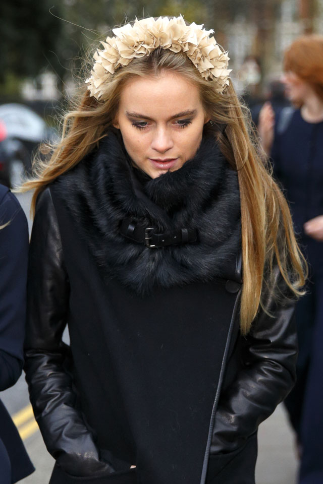LONDON, UNITED KINGDOM - DECEMBER 14: (EMBARGOED FOR PUBLICATION IN UK NEWSPAPERS UNTIL 48 HOURS AFTER CREATE DATE AND TIME) Cressida Bonas attends the wedding of Jake Warren and Zoe Stewart in the Wren Chapel at the Royal Hospital Chelsea on December 14, 2013 in London, England. (Photo by Max Mumby/Indigo/Getty Images)