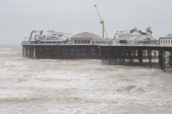 A general view of the conditions on Brighton sea front as a major search is underway for a woman believed to have been swept out to sea following a night out.