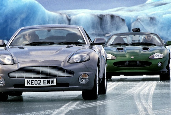 The Aston Martin and Jaguar from the Bond film Die Another Day which have been put up for auction. See SWNS story SWBOND: The world?s largest private collection of James Bond cars has been put up for sale - for £20 MILLION. Super-rich Michael Dezer bought dozens of vehicles from the James Bond museum in Keswick in 2011. It included the tank from Goldeneye, the Q Boat from The World Is Not Enough and SIX Aston Martins.  Over the next two years he continued to build the collection, adding more cars from the latest film, Skyfall.